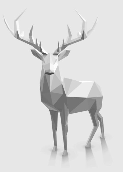 Christmas reindeer in polygonal graphic style illustration poster
