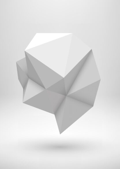 Abstract polygonal shape 3d rendering in white space poster