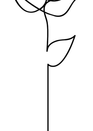 Rose continuous line drawing on white background poster