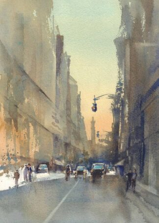 New York street watercolor poster