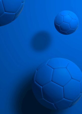 Blue footballs on blue background 3d rendering poster