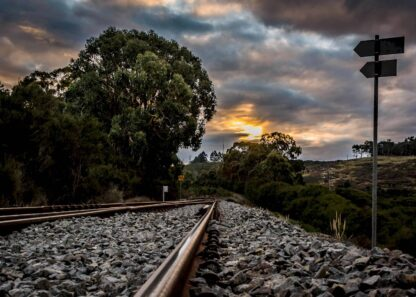 Sunset over a railway poster