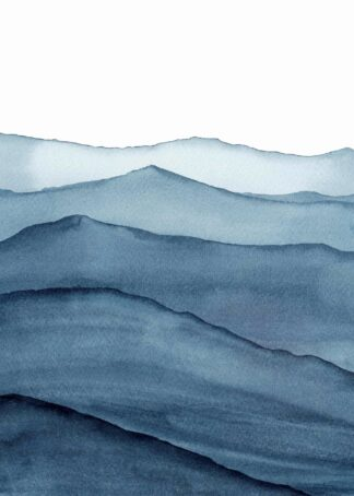 Abstract indigo blue watercolor waves mountains poster