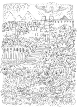 Fairy tale ancient Egypt hand-drawing poster