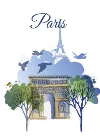 A watercolor photo of Paris poster