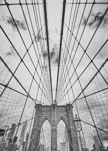 Black and white picture of the Brooklyn Bridge poster