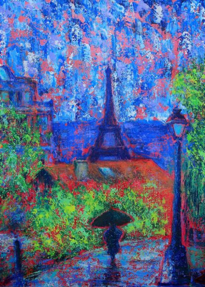 Abstract painting of Paris poster