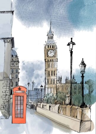 A watercolor photo of London landmark poster