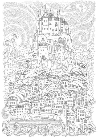 Fairy tale castle on a hill hand-drawing poster