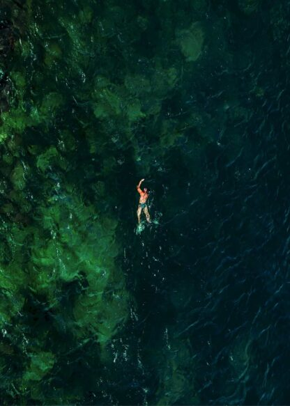 A swimmer in the blue green beach poster