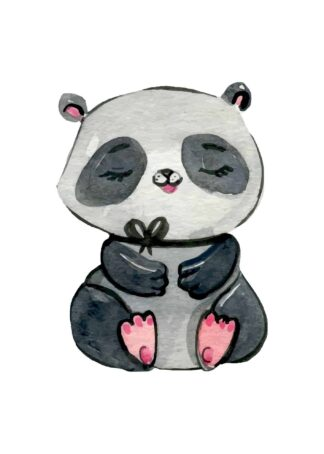 Happy panda watercolor poster
