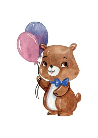 Cute bear with balloons poster