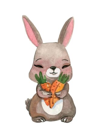 Bunny with carrots watercolor poster