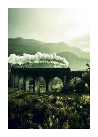 Train rail way bridge mountain smoke poster