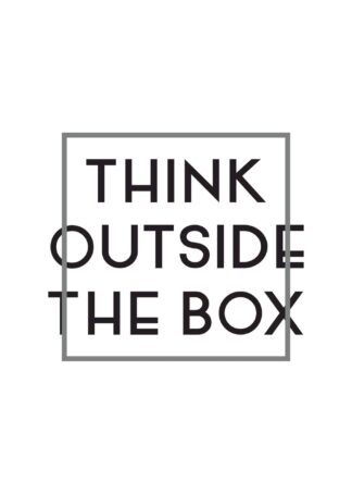Think outside the box text poster (Vertical)