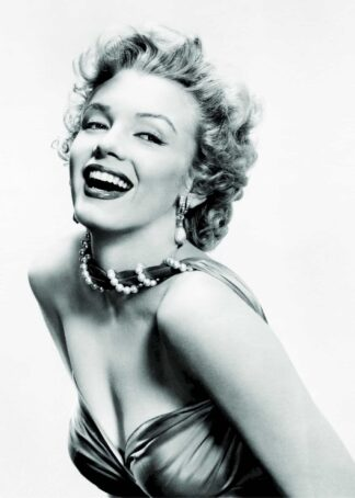 Marilyn Monroe strapless gown and pearls poster