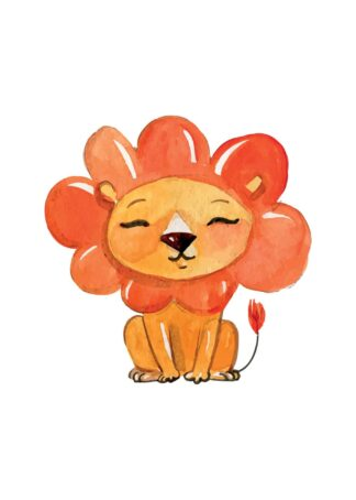 Lion with flower head poster