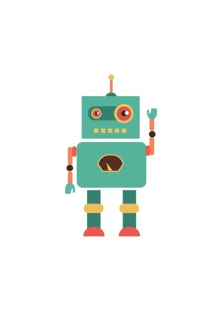 Turquoise robot poster
