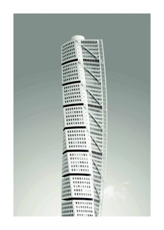 Turning torso in black and white poster