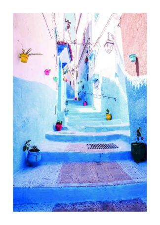 Blue city morocco poster