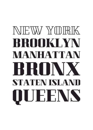 New York's five counties text poster