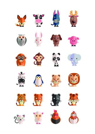 Cute animal icons poster