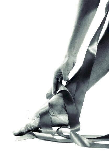 Ballerina's leg with ribbon poster