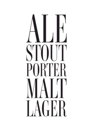 Types of beer text poster