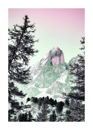 Pink mountain with snow covering poster