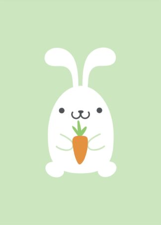 A happy little bunny illustration poster