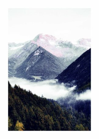 Mountain ridge in mist poster