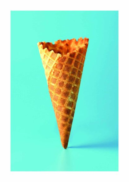 Waffle cone on turquoise background poster