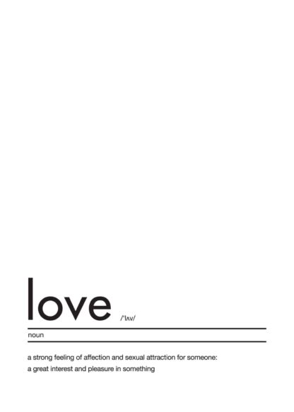 Love definition text poster
