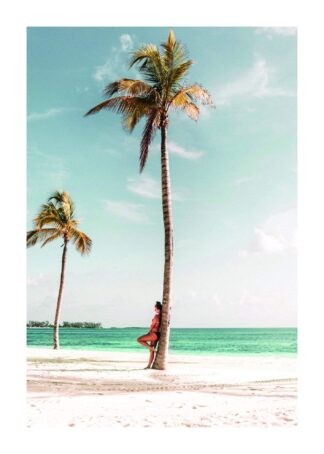Girl standing and coconut palm tree poster