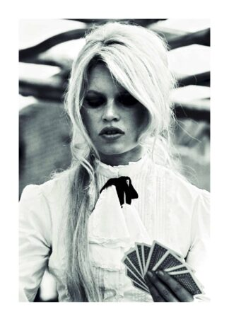 Brigitte Bardot with poker cards poster