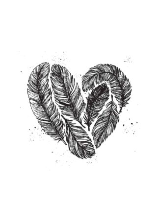 Feather heart on white background poster