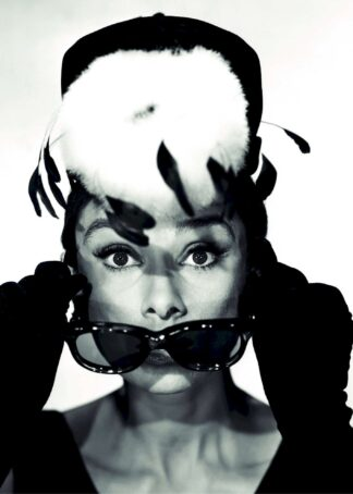 Audrey Hepburn with feather hat poster