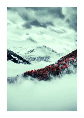Snow in the red mountain forest poster