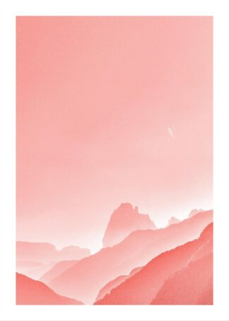 Pink landscape painting poster