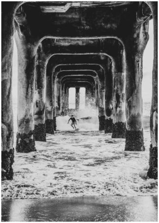 Black white surf under bridge poster