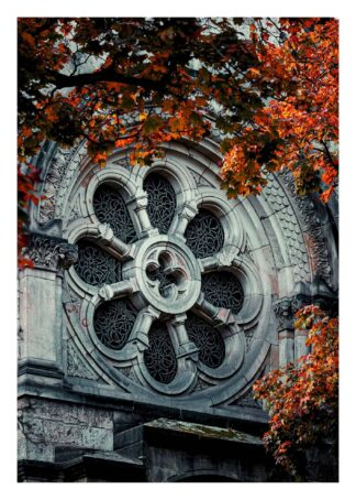 Arc window church behind autumn leaves poster