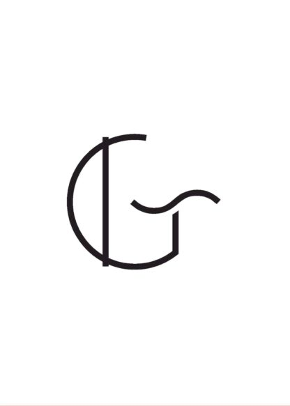Calligraphy big letter g white poster