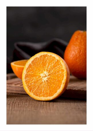 Oranges on wooden table poster