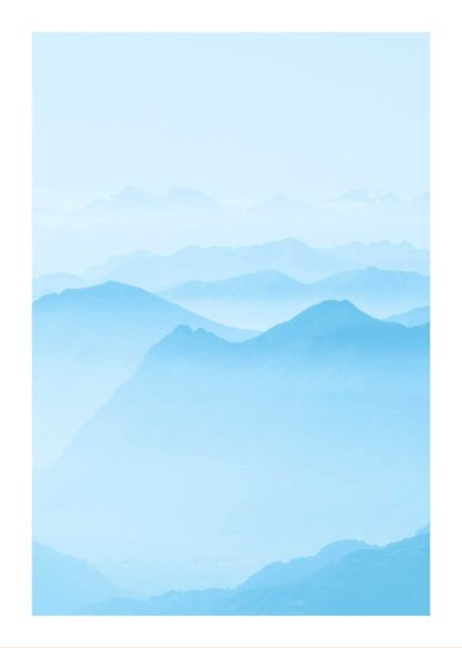 Blue mountains watercolor poster