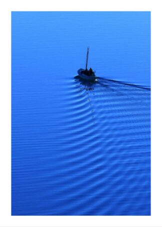 Boat in calm blue water poster