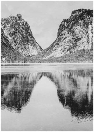 Mountain reflection on water poster