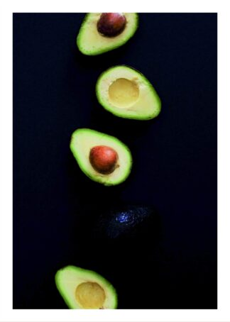 Avocado on black background poster