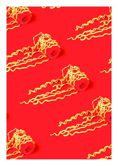 Noodle rolls on red background poster