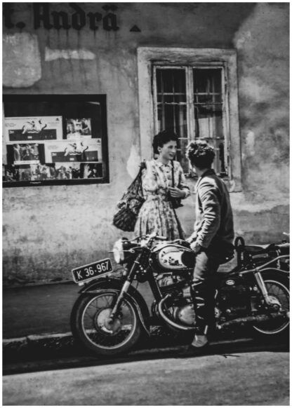 Couple and a bike poster