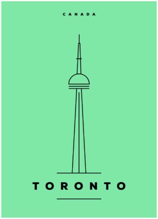 Toronto illustration on green background poster